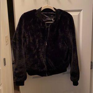 Forever 21 black faux fur bomber jacket